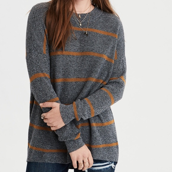 American Eagle Outfitters Tops - American Eagle Gray/Orange Jegging Sweater